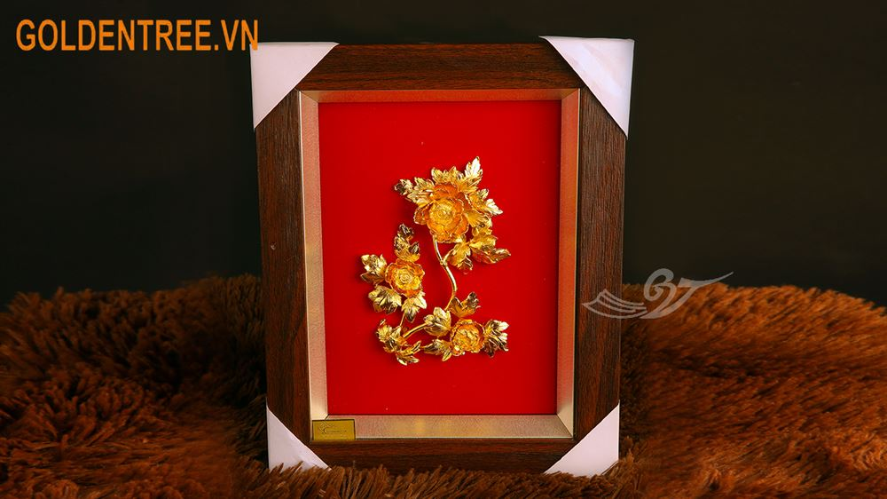 Tranh hoa mẫu đơn mạ vàng