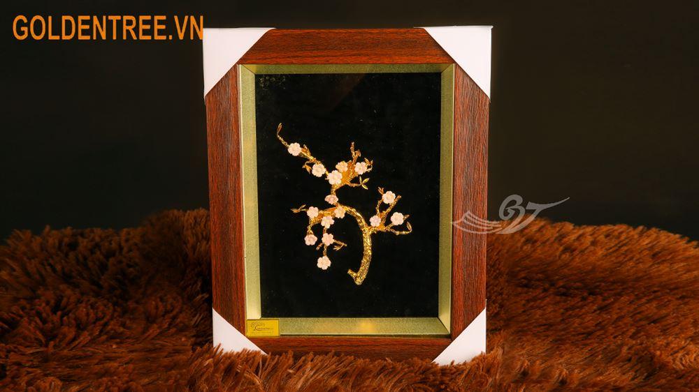 Tranh hoa đào mạ vàng (36x27 cm)