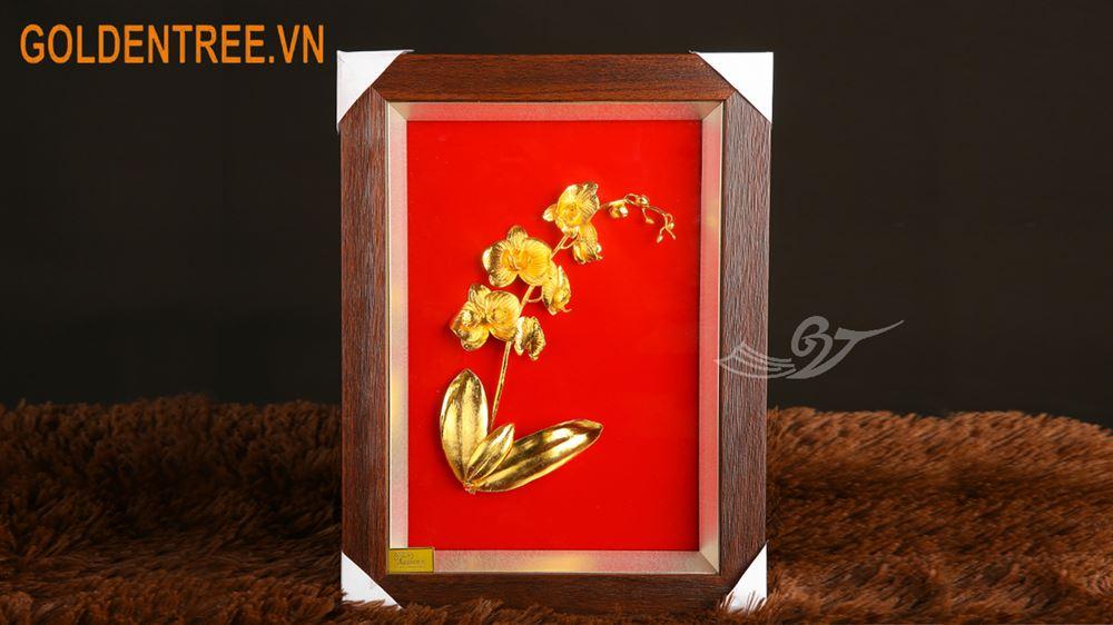Tranh hoa lan hồ điệp mạ vàng