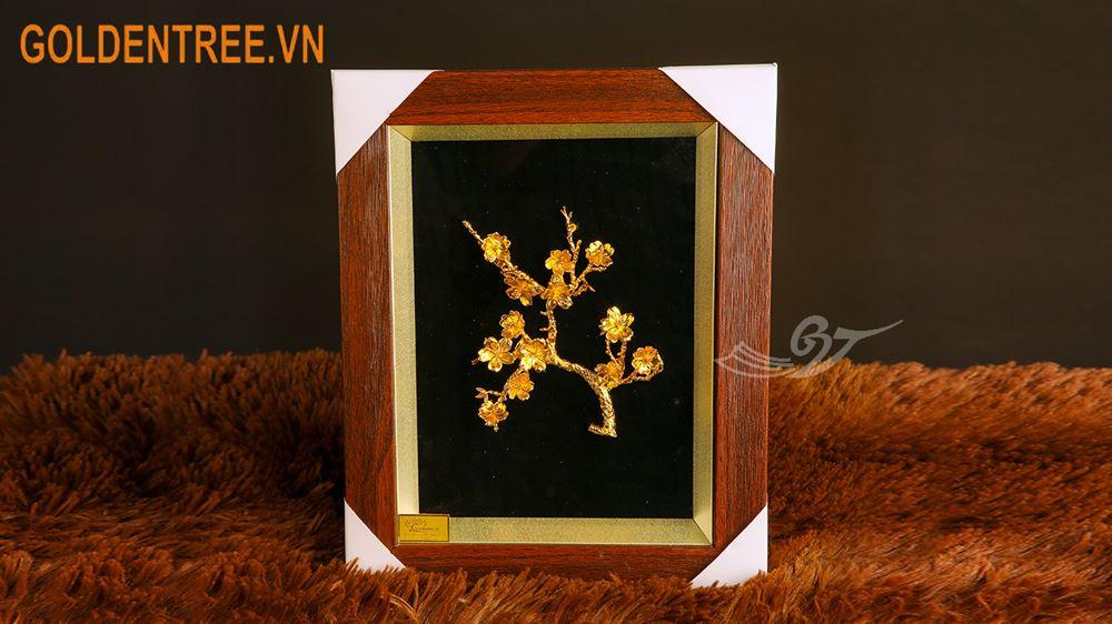 Tranh hoa đào mạ vàng 1