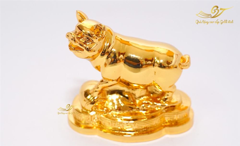 Tượng heo phong thủy mạ vàng size bé