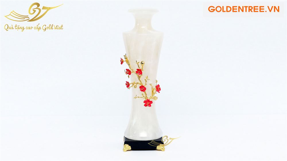 Bình ngọc đính hoa mạ vàng kiểu 6