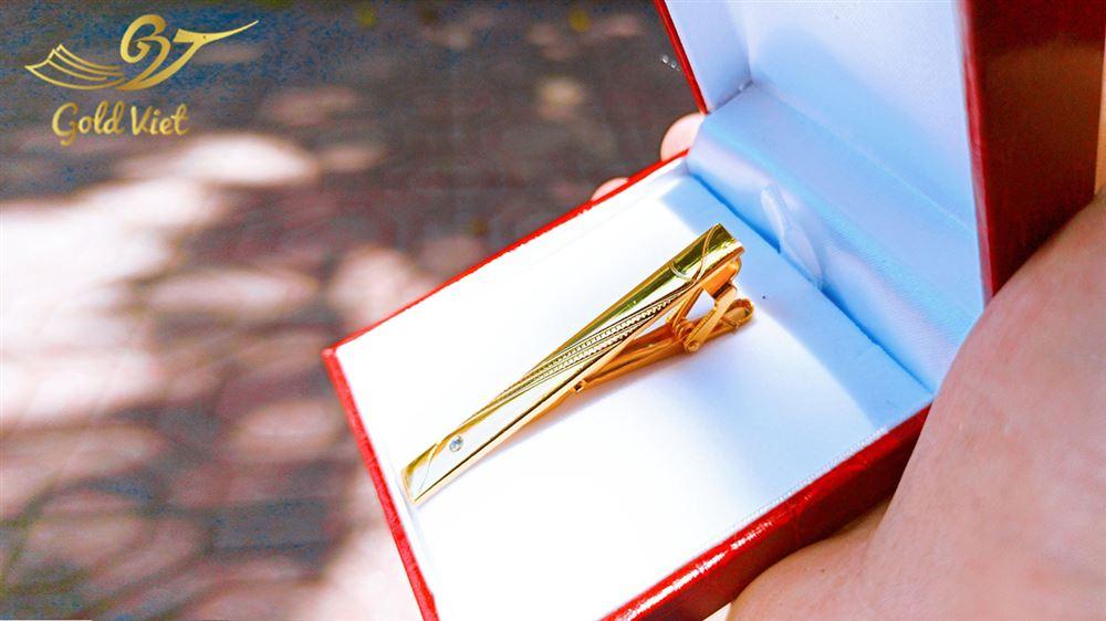 kẹp cà vạt mẫu 3 mạ vàng