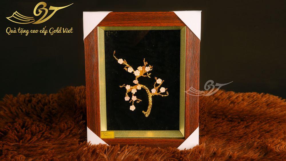 Tranh hoa đào mạ vàng 27x36