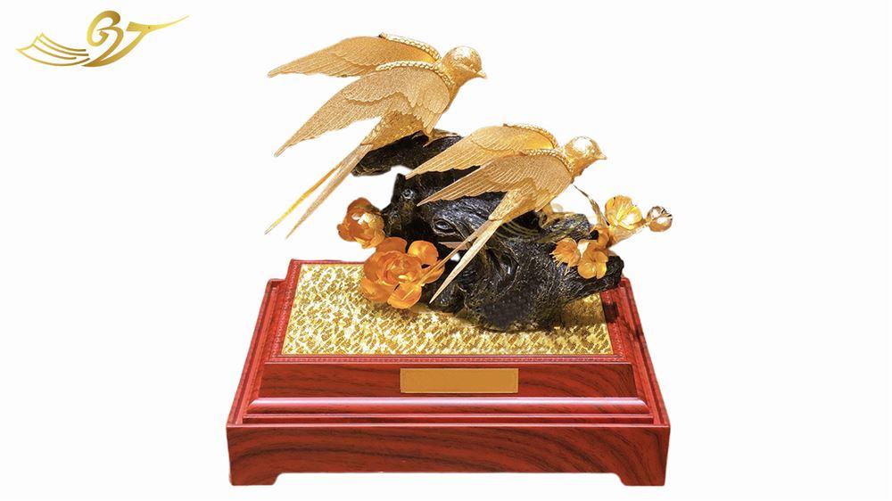 Tượng Đôi Chim Uyên Ương Mạ Vàng