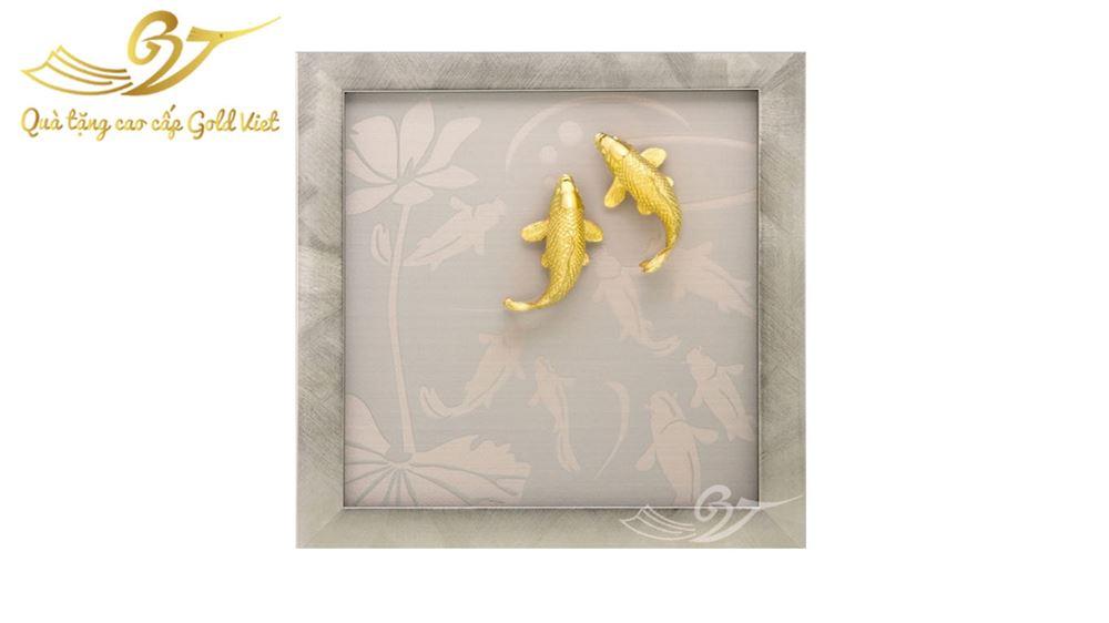 Tranh Đôi Cá Chép Mạ Vàng - Quà Tặng Mạ Vàng Cao Cấp