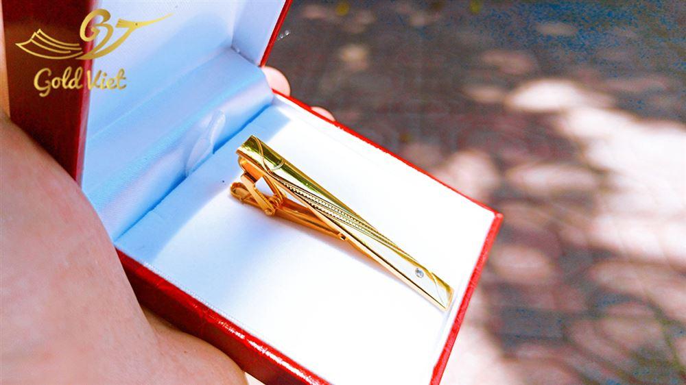 kẹp cà vạt mẫu 3 mạ vàng 1