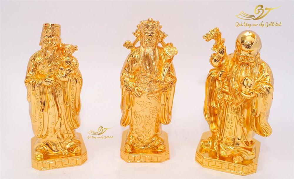 Tượng Phúc Lộc Thọ Mạ Vàng C17