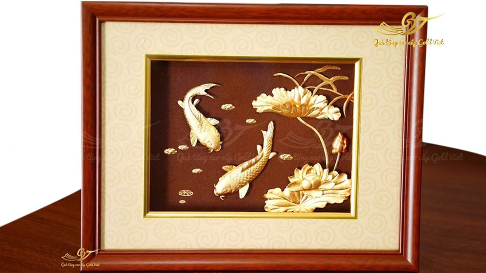 tranh hoa sen đôi cá