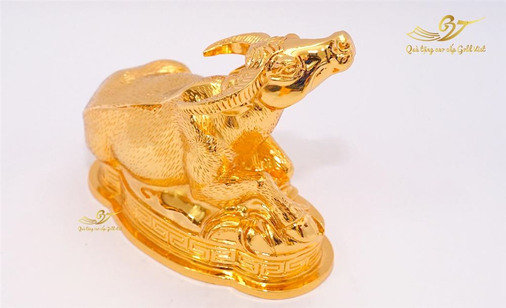 Tượng Trâu Phong Thủy Mạ Vàng (cỡ đại)