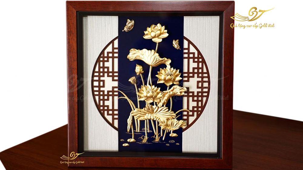 Tranh Hoa Sen Mạ Vàng-Quà Tặng Mạ Vàng Cao Cấp
