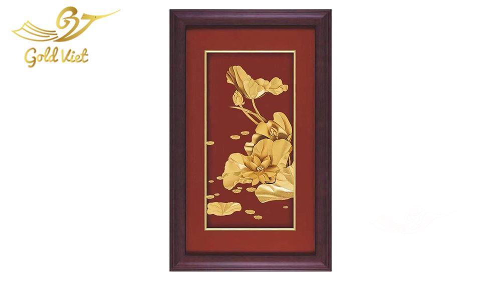 tranh hoa sen mạ vàng 11