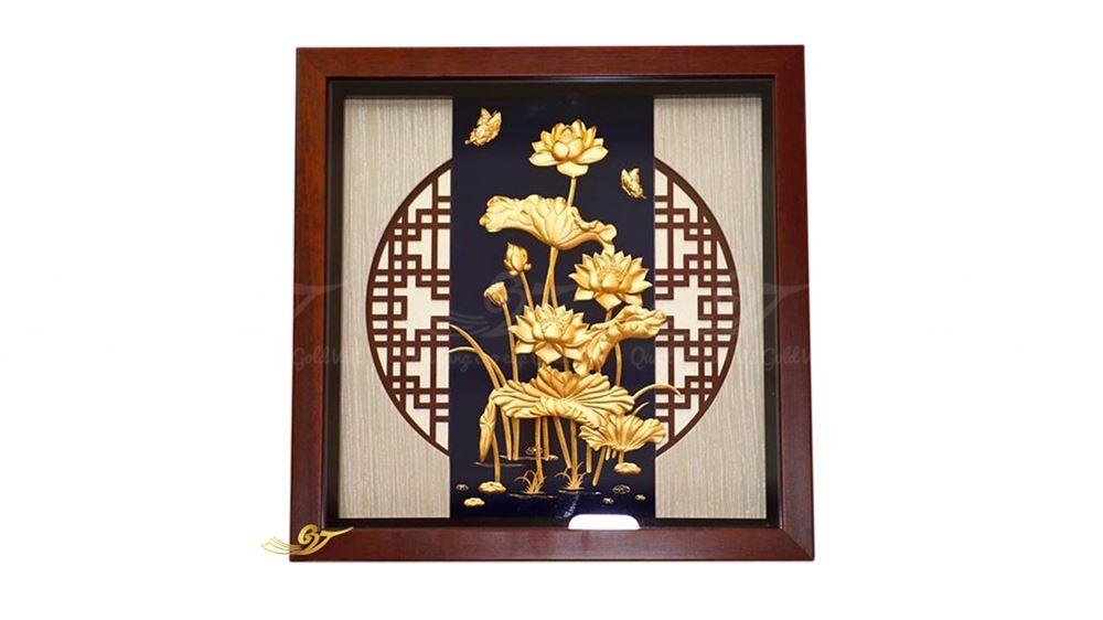 tranh hoa sen vàng 24k 12