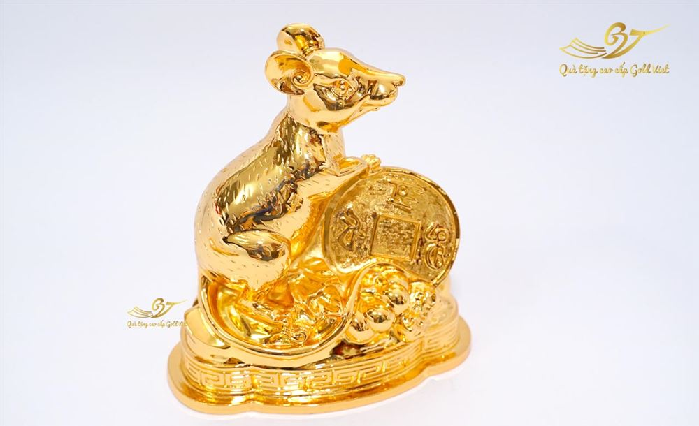Tượng Chuột Tấn Tài Tấn Lộc Mạ Vàng